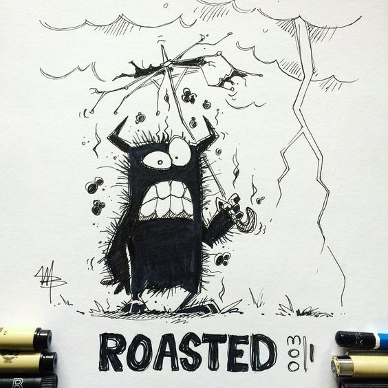 Roasted - More drawings of Michael van den Bosch on my blog. #inktober #inktober2018 #drawingchallenge #doodles #illustrationoftheday #characterdesign #illustrationartists #sketches #jakeparker